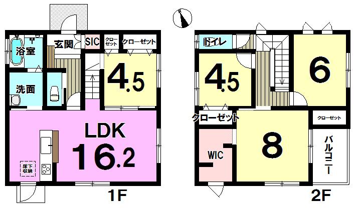 【間取り】 新築一戸建て♪リビングダイニングルームは天井高2.7m♪家事楽フロアでお掃除簡単♪北九州市小倉南区中曽根2丁目♪