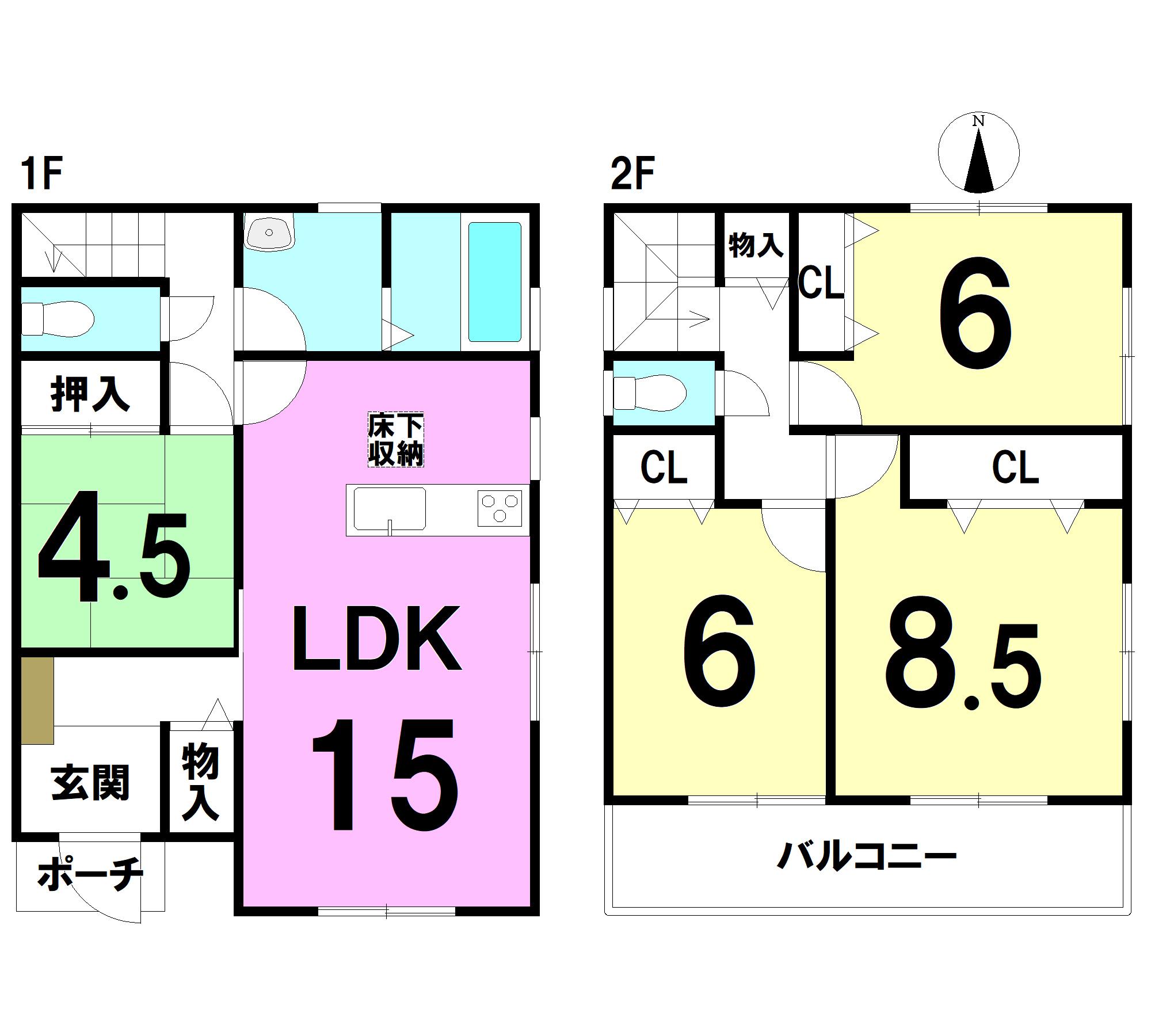 【間取り】 1F:15LDK 4.5和 2F:8.5洋 6洋 6洋 トイレ