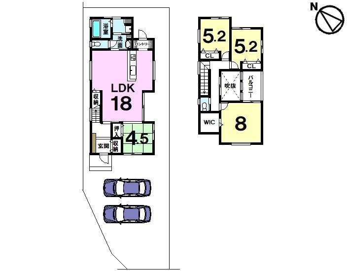 【間取り】 全4区画・JR野洲駅徒歩23分・土地約52坪・駐車2台可・オール電化・食器洗浄乾燥機付