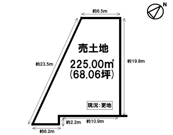 【区画図】 土地約68坪・更地・資材置き場としてご利用頂けます!
