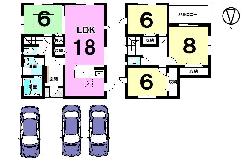 18帖の広々LDKが自慢のおうち♪ 並列で駐車3台可能です。 南向きバルコニー、全室6帖以上の広さを確保しております。