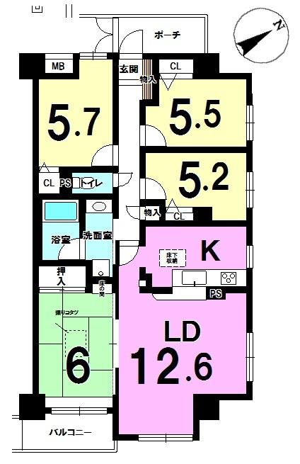 【間取り】 ◎間取り図 ◆南東角部屋!各居室に窓があり陽当たり良好です! ◆4LDKで専有面積82.61㎡!お部屋広々!
