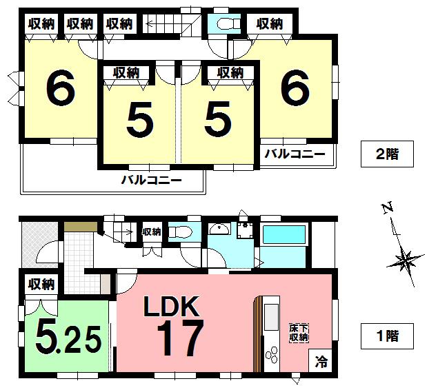 【間取り】 久喜市吉羽1丁目の新築分譲住宅、久喜駅徒歩13分です。