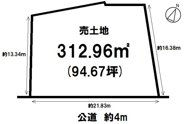 【区画図】 土地面積99.12坪。 建築条件なし。お好きなハウスメーカーで建築頂けます。
