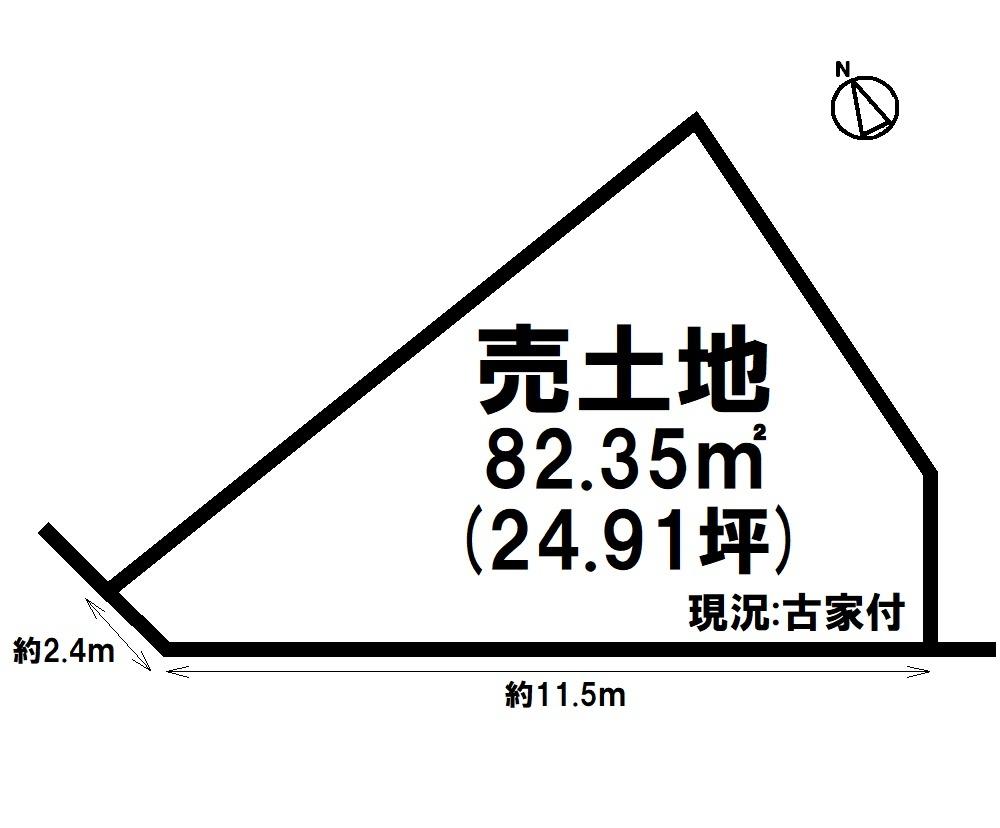 【区画図】 角地・JR南草津駅まで徒歩13分・建築条件なし・矢倉小学校まで徒歩7分(約510m)