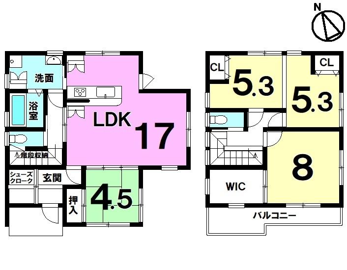 【間取り】 JR手原駅まで徒歩24分・駐車4台可・オール電化・モデルハウス・全居室収納