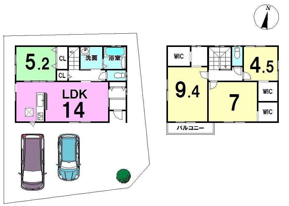 【間取り】 駐車場2台。