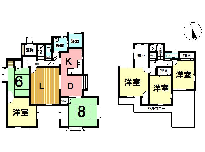 【間取り】 6SLDK 1991年09月築 平成13年増築 風呂、トイレ リフォーム済み! 建物面積142.86㎡ 1880万円!