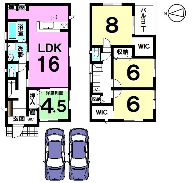 【間取り】 全室南向きの明るいおうちです。 キッチン奥にパントリーを設置。 散らかりがちな場所の整理に大活躍します。 並列で2台駐車可能です。