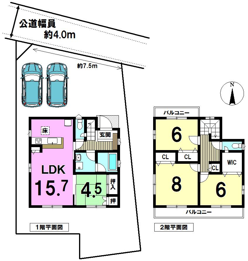 【間取り】 LDK15帖以上!ウォークインクローゼット付♪♪お車2台並列駐車!!