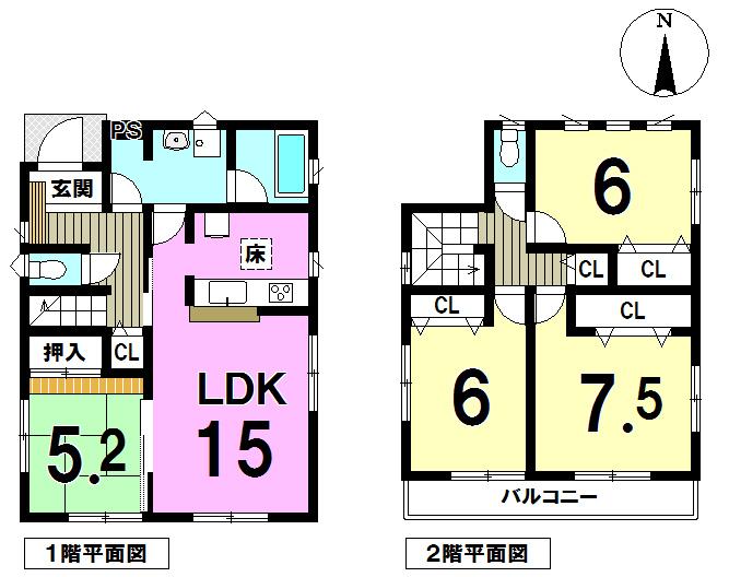 【間取り】 LDK15帖!リビング隣の和室扉をガラッとあけてワンフロアとしても広々快適にお使いいただけますね♪