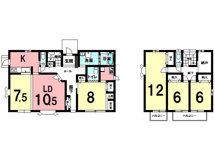 【間取り】 大家族にも対応できる5SLDK! 2世帯にも嬉しい1Fキッチン、 トイレ別です。