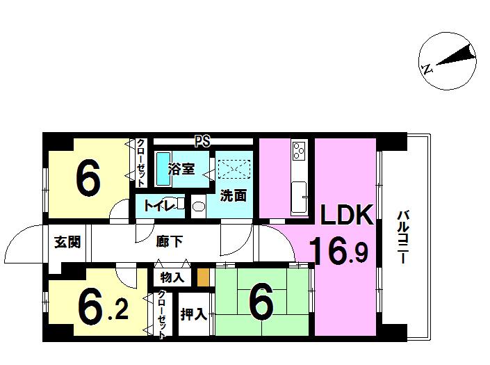 【間取り】 平成18年10月築。南東向きにバルコニーがあるので日当り良好です。 リビング横にある和室もとっても便利ですね。