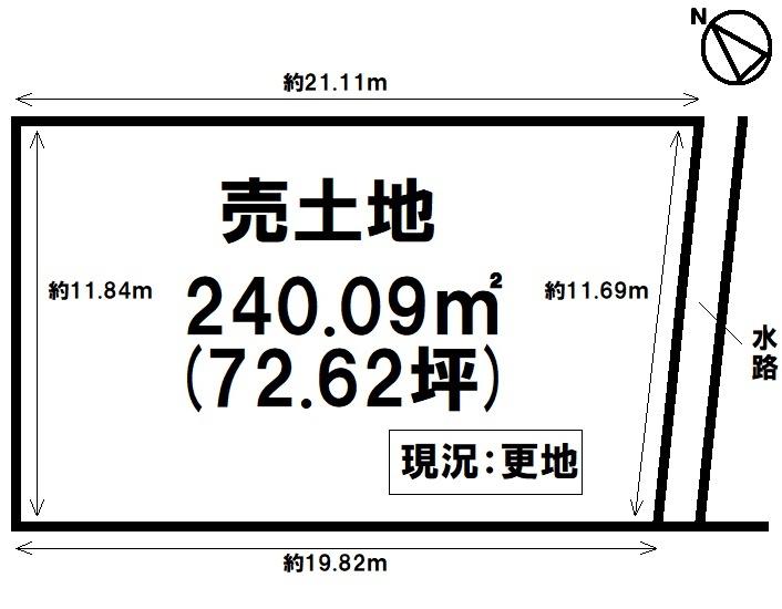 【区画図】 土地約72坪・現況更地・河西小学校まで徒歩24分(約1900m)