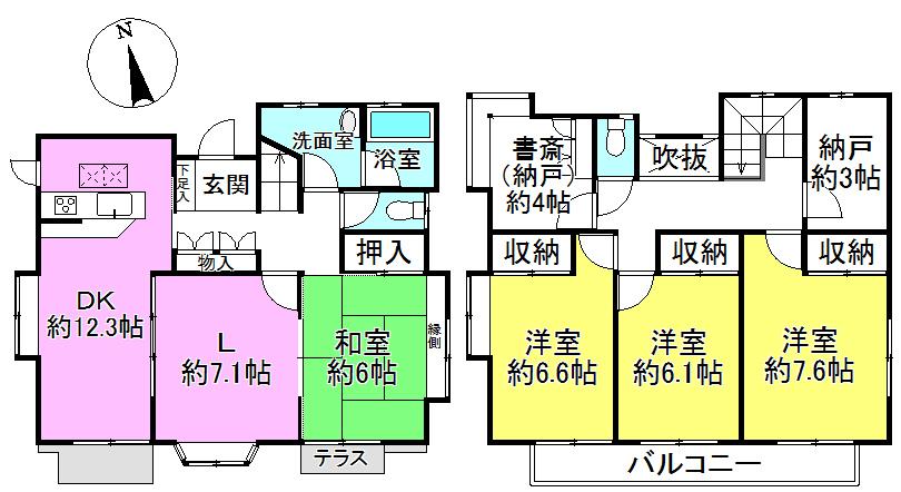 【間取り】 4LDK+納戸+書斎 居室は全室南向きの明るいお部屋です。