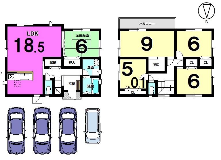 【間取り】 18.5帖の広々としたLDKは南向きの明るいお部屋です。 2階に4室の5LDK! ご家族の多いご家庭におススメの物件です。 駐車2台可能!