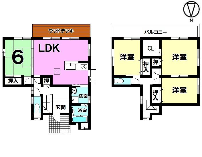 【間取り】 ・4LDK ・駐車2台可能 ・ウッドデッキ付