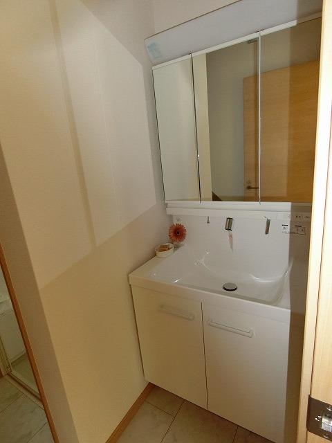 たっぷり収納の三面鏡で洗面台もスッキリ片付きます。
