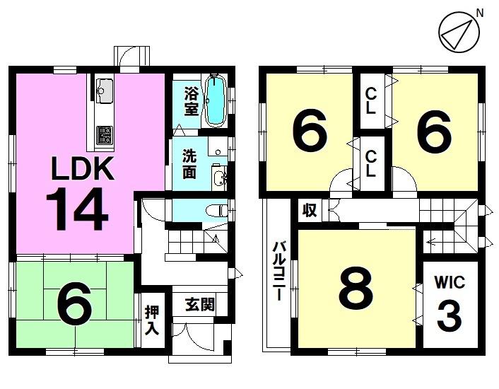 【間取り】 土地約70坪・4LDK・平成22年9月築・オール電化住宅です!