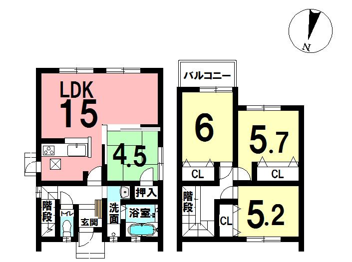 【間取り】 皆春の新築戸建住宅です! 4LDK 1990万円♪   敷地面積:131.27㎡(約39.7坪) 延床面積:87.98㎡(約26.21㎡)