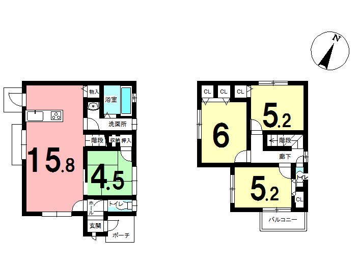 【間取り】 4LDK 新築住宅 2,190万円♪ 敷地:163.89㎡(約49.5坪) 延床面積:85.91㎡(約25.98坪)
