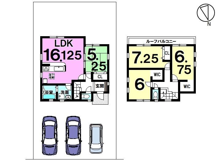 【間取り】 土地面積 44,93坪 建物面積 30,18坪