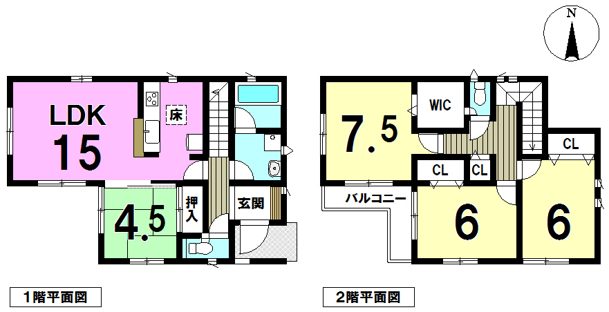 【間取り】 LDK15帖各居室収納あり、主寝室にはウォークインクローゼット!