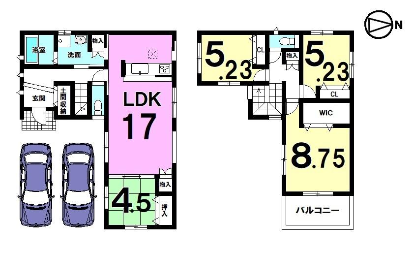【間取り】 LDK+和室で21.5帖の広々空間♪ 全室に収納スペースを確保しました。 並列で駐車2台可能です。