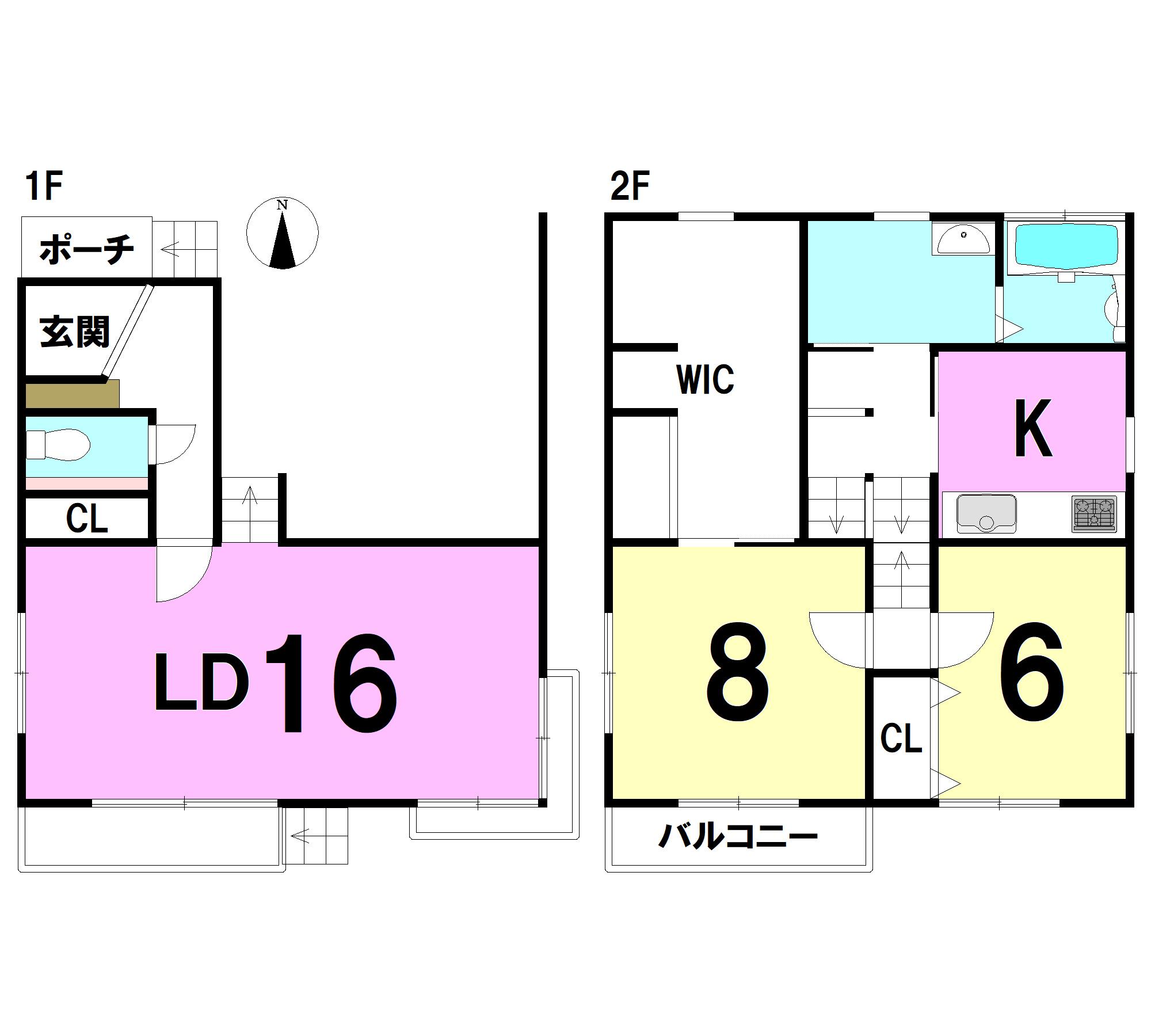 【間取り】 1F:16LD トイレ 2F:K 8洋 6洋 WIC 洗面 浴室