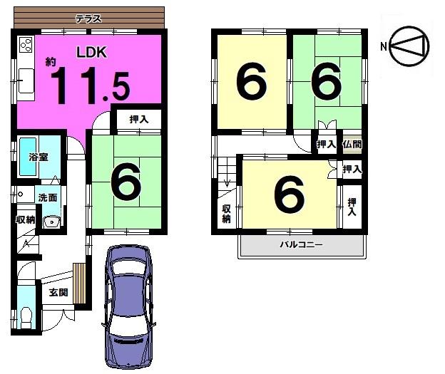【間取り】 全室6帖以上の広さを確保したゆとりある間取り。 収納スペースも豊富にございます。 室内は丁寧にお使いですので、是非一度ご覧下さい。