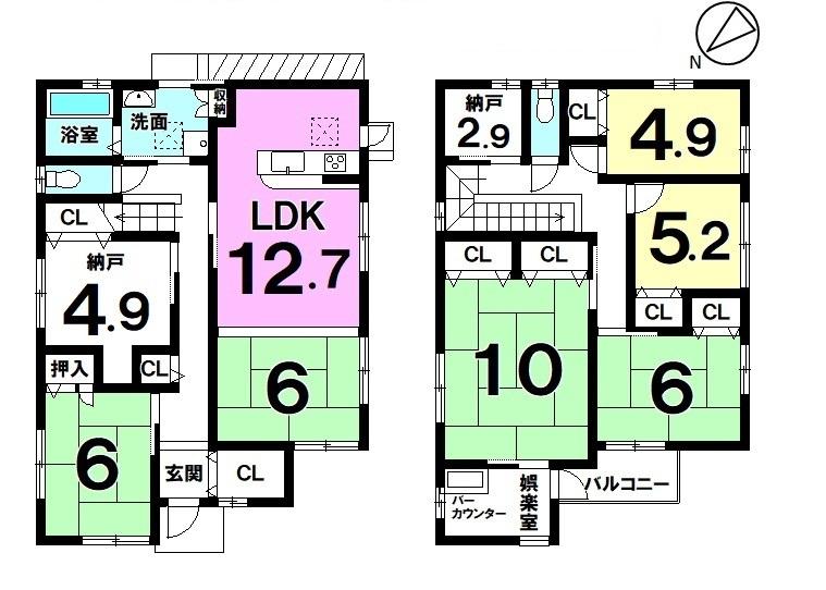 【間取り】 6LDK+2納戸・太陽光発電約6.1kw搭載・娯楽室にバーカウンター有・駐車2台可・2012年7月築