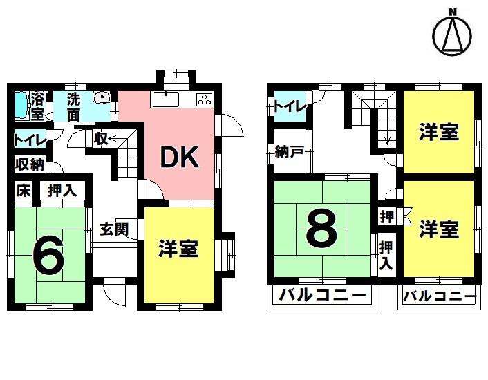 【間取り】 5DK+納戸 駐車2台