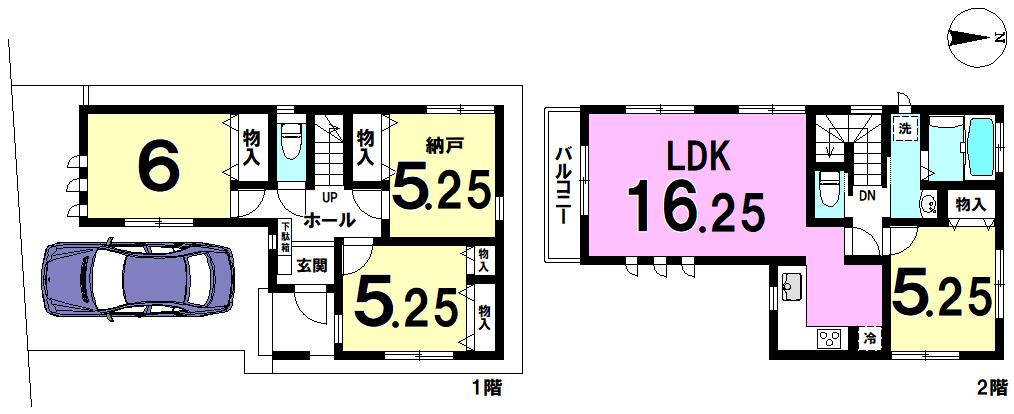 【間取り】 江戸川区東小岩2丁目 C号棟 全4棟 新築戸建 の物件です。