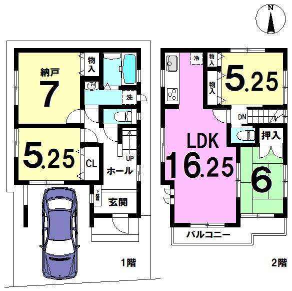 【間取り】 江戸川区東小岩2丁目 D号棟 全4棟 新築戸建 の物件です。
