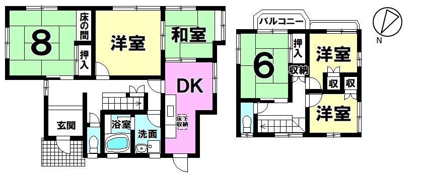【間取り】 緑豊かな閑静な住宅地は子育て家族にぴったり 6DKの軽量鉄骨の角地 中古戸建