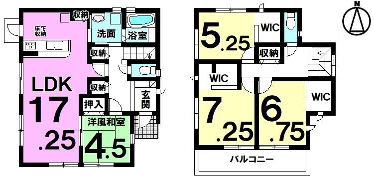【間取り】 緑豊かな閑静な住宅地は子育て家族にぴったり2階全居室にウォークインクローゼットが備わった新築戸建