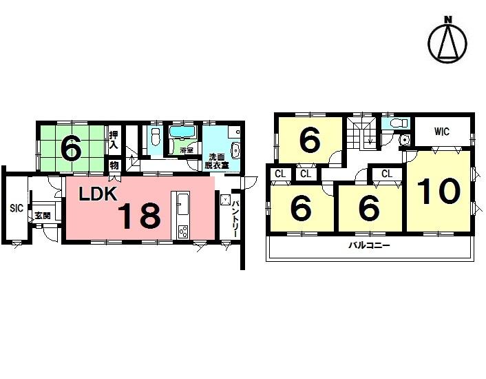 【間取り】 5LDK+WIC+SIC+パントリー 駐車3台