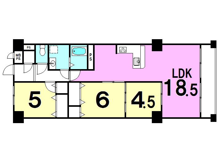 【間取り】 全室クロス貼り替え、フローリング貼り替え、建具新調しています。