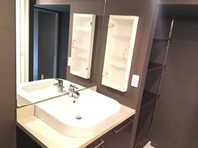 洗面化粧台新調済みです  鏡も大きく朝の支度も便利です  収納もあり  快適に使えます