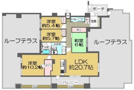 【間取り】 専有面積広々111.65平米  平成29年10月リフォーム済みで  室内美麗です  南・西・北向き角部屋  129平米ルーフバルコニー付き