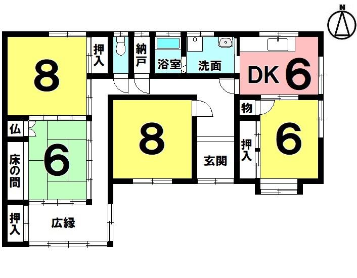 【間取り】 4DK 駐車1台