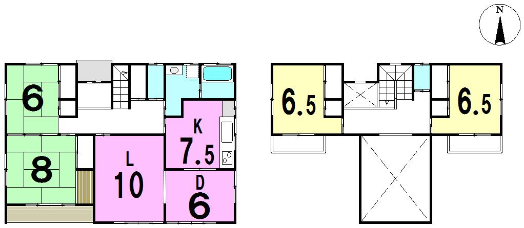 【間取り】 平成30年4月リフォーム完了予定。 5LDK・駐車5台可。