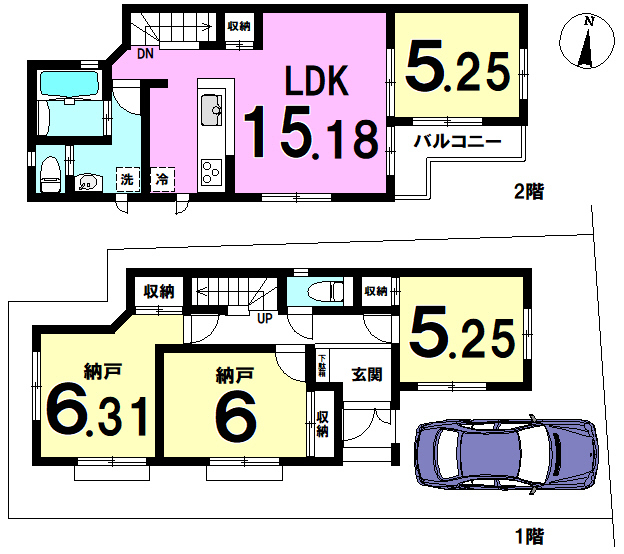 【間取り】 江戸川区上一色1丁目 1号棟 全3棟 新築戸建の物件です。