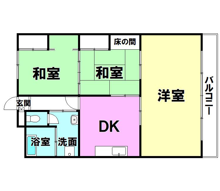 【間取り】 内山グリーンパレス三萩野203号室