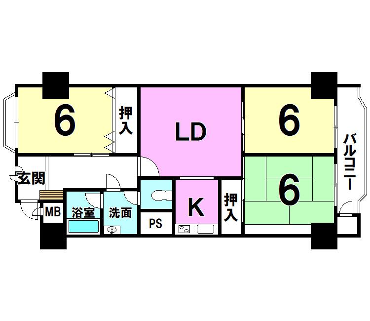 【間取り】 チュリス小倉1408号室(3LDK)