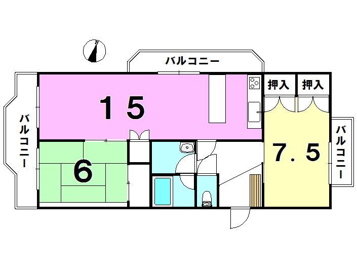 【間取り】 グリーンマンション中井507号室