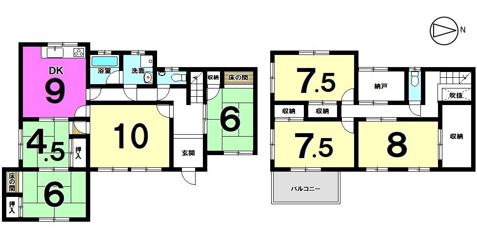 【間取り】 大家族様におススメの7SDK。 収納スペースも豊富に確保しております。 土地面積57.43坪。オール電化住宅です。