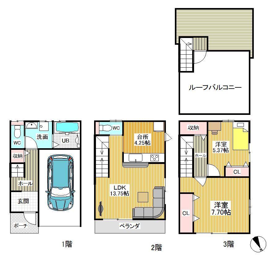 【区画図】 駐車スペース完備 / 広々10.25帖のLDK♪ / 収納が多い建物なのでお部屋を常にスッキリご利用いただけます♪