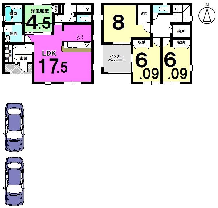 【間取り】 17.5帖の広々としたLDKはご家族の憩いの場にぴったり! 納戸に加え各部屋に収納スペースを確保しております。