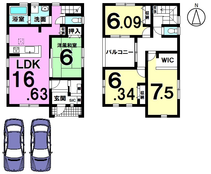 【間取り】 南向きの明るいおうち。 全室6帖以上の広さを確保したゆとりある間取りです。 収納スペースも豊富に確保しております。